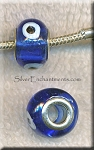 Evil Eye European Style Glass Large Hole Bead, Sapphire Lampworked Glass with Silver-finished Brass Metal Grommets, Big Hole Lampworked Rondelle, 4.5mm Hole (1)