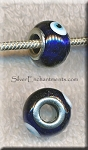 Evil Eye European Style Glass Large Hole Bead, Cobalt Blue Lampworked Glass with Silver-finished Brass Metal Grommets, Big Hole Lampworked Rondelle, 4.5mm Hole (1)