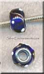 COBALT with Metallic RIBBON and DOTS European Style Glass Large Hole Bead, Lampworked Glass with Silver-finished Brass Metal Grommets, Big Hole Lampworked Rondelle, 4.5mm Hole (1)