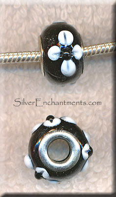 Black with White Flower European Style Glass Large Hole Bead, Big Hole Lampworked Rondelle (1)