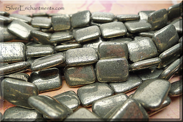 Pyrite Beads, Rectangle 18x13mm Pillow Fool's Gold