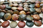Red Creek Jasper Beads, Coin 15mm Faceted