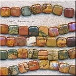 12mm Red Creek Jasper Square Chicklet Beads