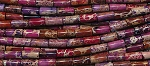 14x6mm Mixed Purple-Red Sea Sediment Jasper Tube Beads