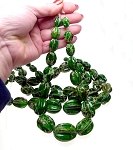 Graduated Green Sea Sediment Jasper Melon Beads