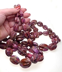 Graduated Purple Sea Sediment Jasper Melon Beads
