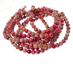 6mm Round Sea Sediment Jasper Beads, Mixed Red, Pink, Coral