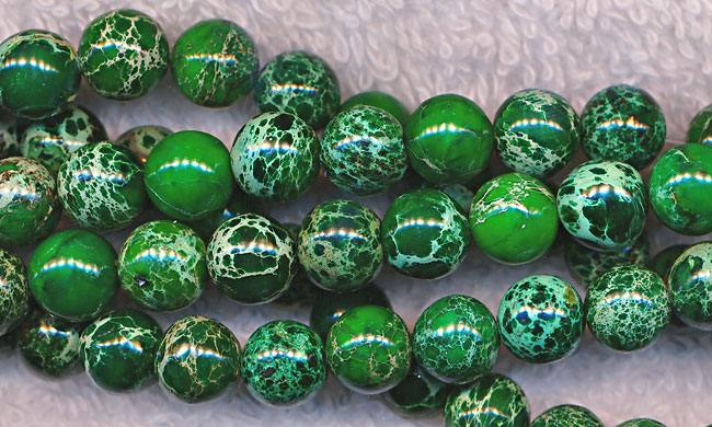 ZSOLDOUT - Sea Sediment Jasper Beads, Green Round 8mm