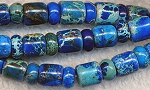 Sea Sediment Jasper Beads, Blue Barrel and Rondelle 8mm