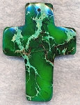 Green Sea Sediment Jasper Cross Pendant, Large