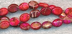 Sea Sediment Jasper Beads, Pink to Red Oval 8x6mm