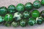 Sea Sediment Jasper Beads, Green Round 10mm