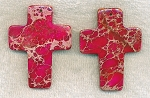 Fuschia Sea Sediment Jasper Cross Pendant, 60x45mm Gemstone Cross (1)
