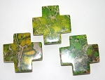 Cross Bead Pendants, 45mm Green Sea Sediment Jasper Cross Pendants (1)