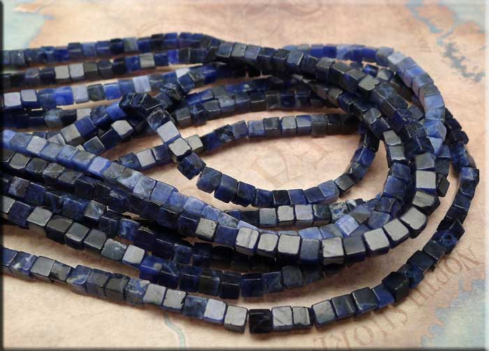 4mm Cube Sodalite Beads