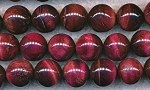 Tiger's Eye Beads, Red Round 12mm