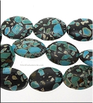 25x18mm Oval Mosaic Turquoise Beads