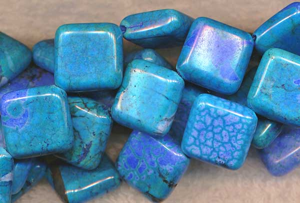 ZSOLDOUT - Magnesite Beads, Turquoise Diamond 18mm Mottled