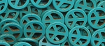 25mm Peace Sign Beads Turquoise