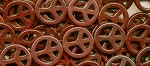 Peace Sign Beads, Brown 25mm