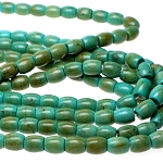 Turquoise Beads, Olive Barrel 12x10mm Stabilized