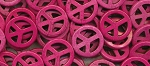 Peace Sign Beads, Pink 25mm