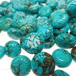 Turquoise Beads, Coin 20mm Carved Stabilized