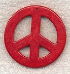 55mm Large Peace Sign Pendant Red