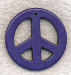 Large Peace Sign Pendants, Purple 55mm