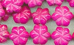20mm Carved Magnesite Flower Beads Pink