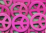 35mm Pink Peace Sign Beads