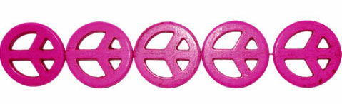 15mm Pink Peace Sign Beads