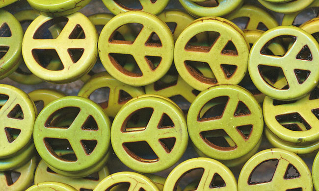 15mm Green Peace Sign Beads