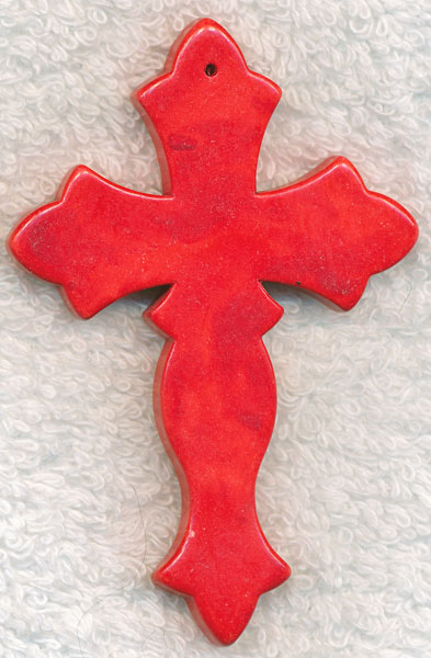 Large Stone Cross Pendant Red Gothic 78x50mm
