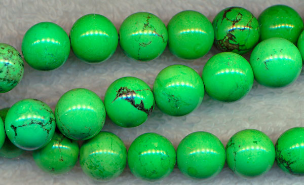 Turquoise Beads, Green Round 10mm Stabilized