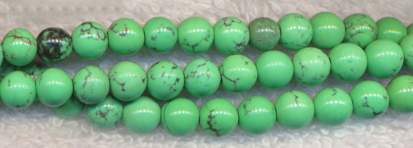 Turquoise Beads, Green Round 6mm Stabilized