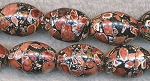 Brown Mosaic Turquoise 20x15mm Olive Fat Rice Beads