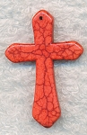 Gemstone Cross Pendant, Red Magnesite 45x30mm
