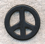 Peace Sign Pendants, Black 35mm