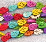 Multicolored Magnesite Carved Leaf Beads