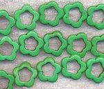 Flower Beads, Green Turquoise 20mm