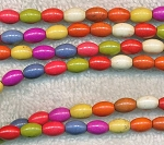 Magnesite Beads, Multicolor Rice 9x6mm