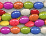 ZSOLDOUT / Magnesite Beads, Multicolor Oval 20x15mm