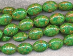 20x15mm Mosaic Green Turquoise Oval Beads