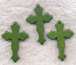 Green Turquoise Cross Pendants, Gothic 45mm