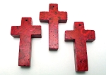 Gemstone Cross Pendants, Red 60x30mm