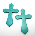 SOLDOUT - Large Turquoise Cross Pendant, 90x56mm Large Magnesite Cross Pendants (1)