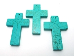 Turquoise Cross Pendant 60x40mm 1 per bag