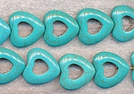Blue Turquoise Heart Beads, 25mm