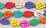 Mixed Colors Stone Carved Leaf Beads, 20mm